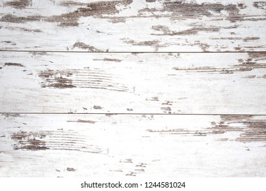 wood background, vintage white planks peeling, ruined, aged