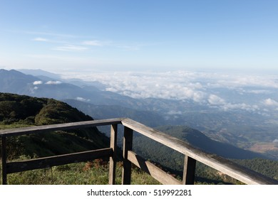wood balcony terrace with mountain view in morning