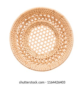 Wood basket wicker wooden in handmade top view isolate on over white background