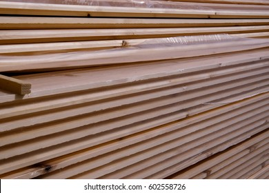 Wood beech board pile for construction of the houses