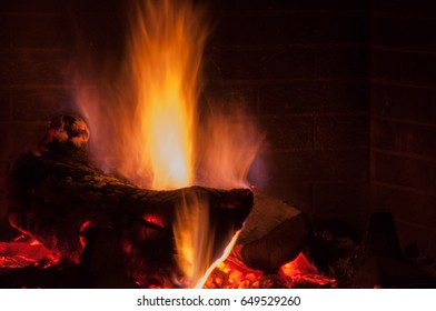 wood being burned in a fireplace