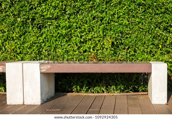 Stupendous Wood Bench Concrete Block Green Leaf Stock Image Download Now Evergreenethics Interior Chair Design Evergreenethicsorg