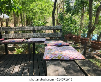 wood bench and Cushions