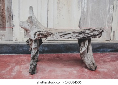 Wood bench for sitting