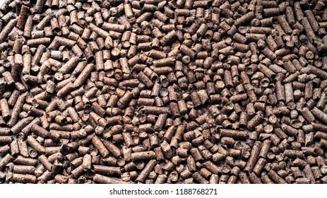 Wood bioenergy pellets texture.  brown texture.texture of sawdust