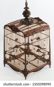 wood bird cage on white background,vintage cage carve with hand made for Red whiskered bulbul bird,art design of cage