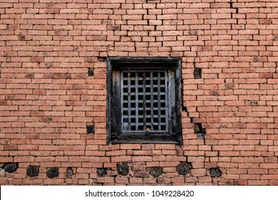 Wood black window and the brick wall in Nepal