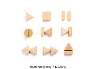 Wood block arranging as multimedia player icon set.