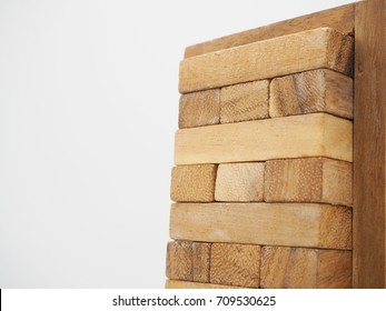 Wood block tower game children