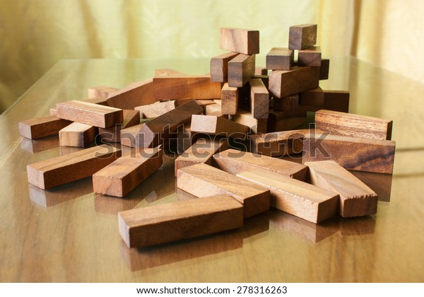 Wood block tower game for children
