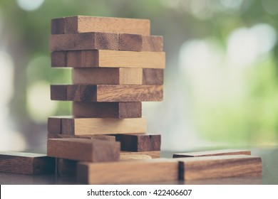 Wood blocks stack game, background concept, vintage