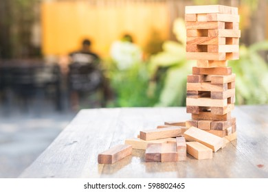 Wood blocks stack game, background. Concept of education, risk, development, and growth