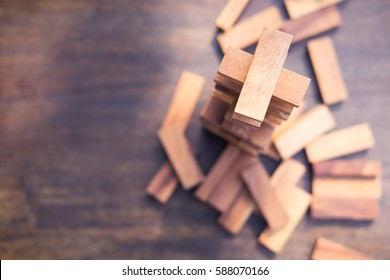 Wood blocks stack game with copy space, background. Concept of education, risk, development, and growth