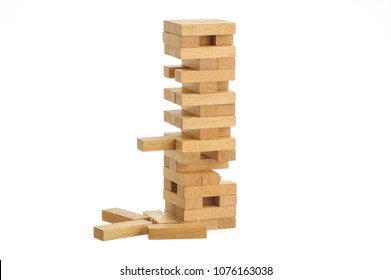 Wood blocks stack game with copyspace