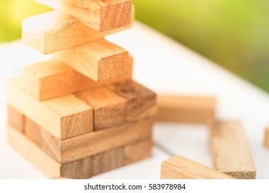 Wood blocks stack game using as background education concept.