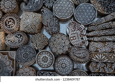 Wood blocks used for textile printing