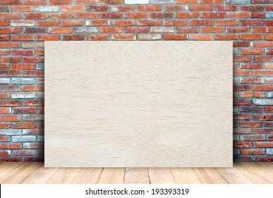 Wood board and brick wall,