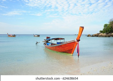 wood boat on the beach (Koh Lipe) in Thailand