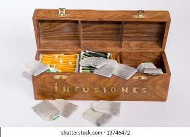 wood box with a lot of herbal infusions
