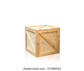 wood box on isolated white background with clipping path