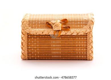Wood box on white background.