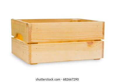 wood box or wooden good cargo shipping wooden tray isolated on white.
