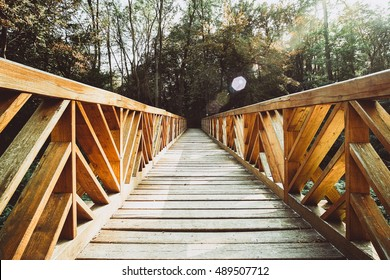 Wood bridge on the forest vanishing point perspective