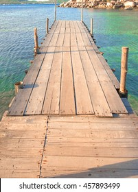 Wood bridge on the sea