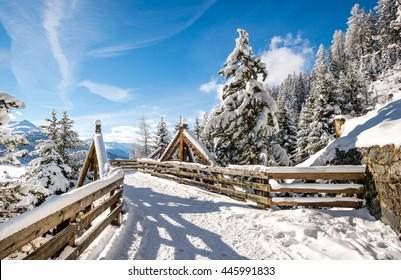 Wood bridge at Panorama path above Davos, Switzerland.