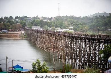 Wood bridge in Thailand