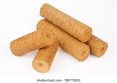 wood briquettes isolated over white background