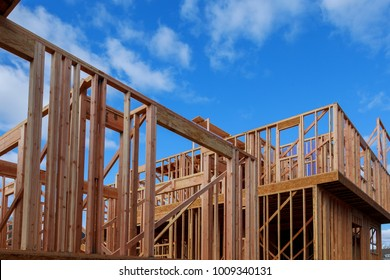 Wood Building frame at Multi-Family Housing Construction Site