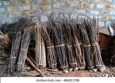 Wood bundles at Sanher town, Guangdong, China.