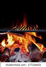 Wood burning in a barbecue, winter time, pure flames.