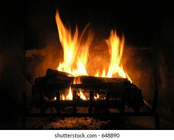 Wood burning in fire place