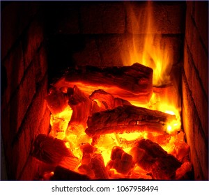 Wood burning in fireplace