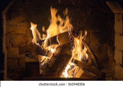 Wood burning in the fireplace