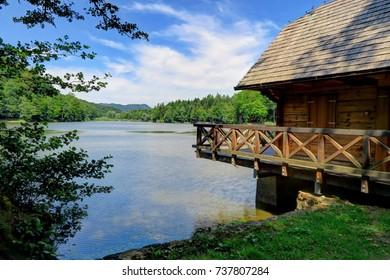 A wood cabin near a beautiful, clear, sunny day on Croatia's Lake TrakoÅ¡Ä?an