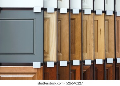 wood cabinet door samples in market in a row