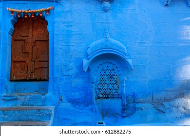Wood Carved door in the Blue City of Jodhpur, Rajasthan , India