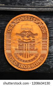 wood carved emblem of the USS Constitution also known as Old Ironside