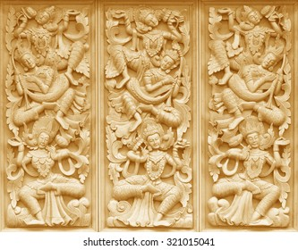 Wood carving Buddhist temple door public places of Buddhist worship.