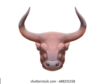 Wood carving, the head of the bison, commonly used in ornamental building, isolated on white background with clipping path.