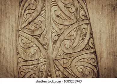 Wood Carving Sculpture with Cultural Koru Shapes Most Downloaded