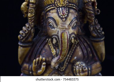 wood carving statue lord Ganesha god of Successfull