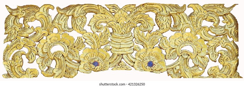 Wood carving or stucco for Thai temple windows.