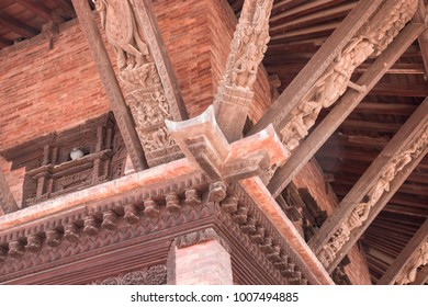 Wood carving that decorated in the top of a temple in Bhaktapur, Nepal