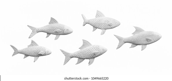 Wood carving white fish isolated.