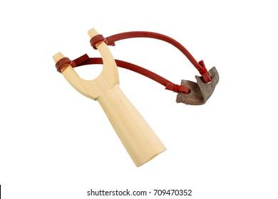 wood catapult slingshot isolated on white background