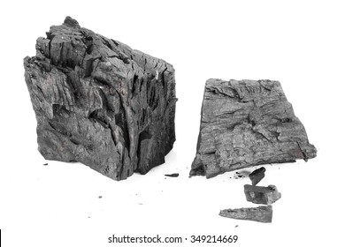 Wood charcoal Isolated on a white background.